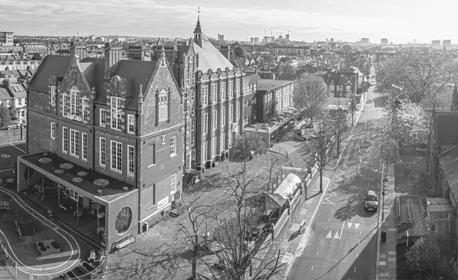 Aerial shot of British city
